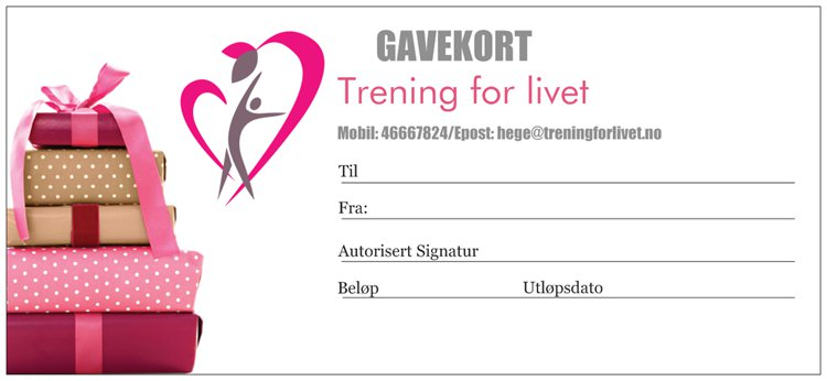 Gavekort Trening for livet