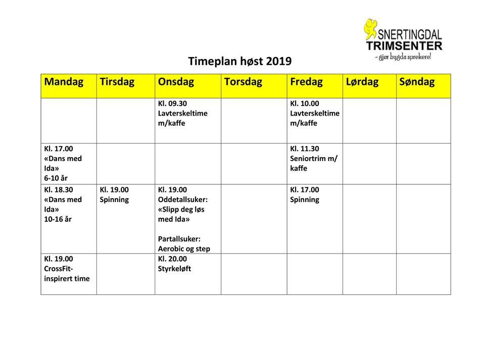 Timeplan høst 2019